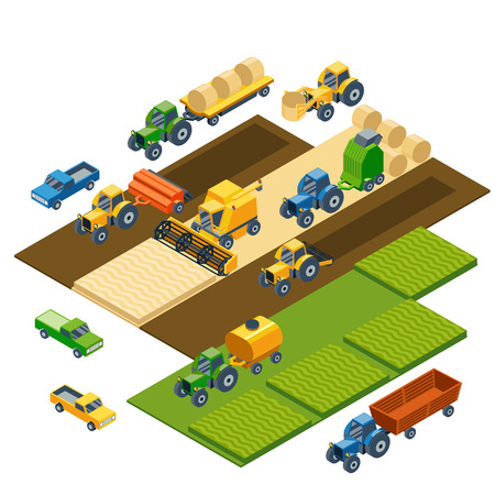 Illustration pour Isometric agricultural equipment, farm tractors, combain, trailers and pickup. Transportation pickup, field nature landscape, harvest and grain, lawn and wheat. Vector illustration - image libre de droit