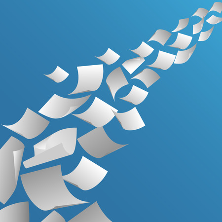 White paper sheets flying in the air. Fly page blank, paperwork and document, vector illustration