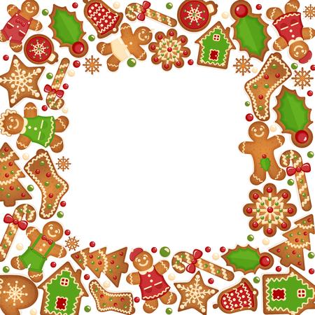 Gingerbread cookies vector frame.  Food dessert decoration christmas, sweet ginger and biscuit illustration