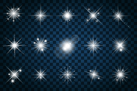Shine stars with glitters and sparkles. Effect twinkle, design glare, scintillation element sign, graphic light, vector illustration