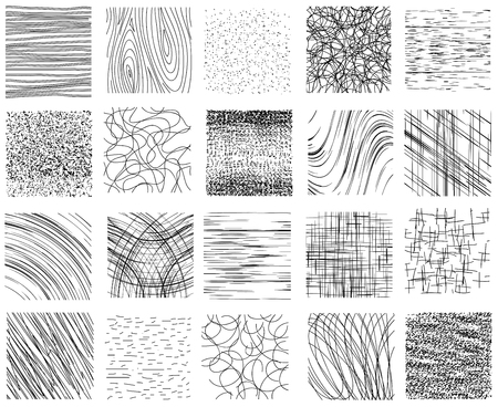 Hatch, dotted and linear ink hand drawn textures vector set. Black white design, abstract background pattern illustration