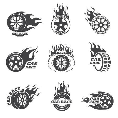 Illustration for Car race logo set. Wheel with fire flame. Sport speed, tyre blaze, fire and flash, vector illustration - Royalty Free Image