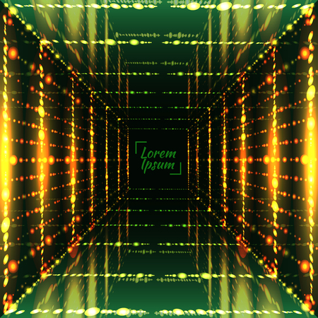 Abstract bright grid background. Perspective space, cell light, glow corridor. Vector illustration