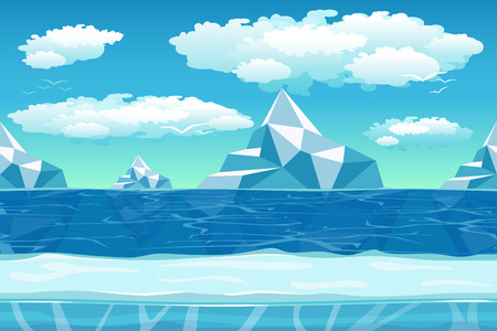 Cartoon winter landscape with iceberg and ice, snow and cloudy sky. Seamless vector nature background for games. Iceland and berg, northern ocean, polar environment illustration