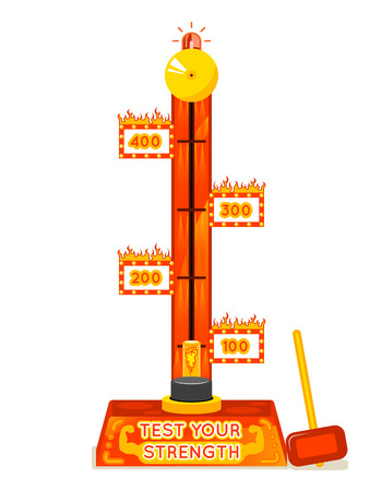 Strength tester. Test your strength amusement game. Power and strong, entertainment and festival. Vector illustration