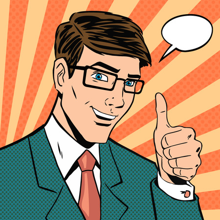 Successful businessman gives thumb up in vintage pop art comics style. Likes and positive feel. Gesture good, hand and glasses, agree and smile, finger agreement.