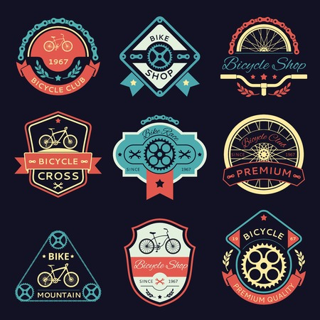 Illustration for Set of bicycle and bike color emblems and labels. Wrench and shop, gear and transport, sport label illustration - Royalty Free Image