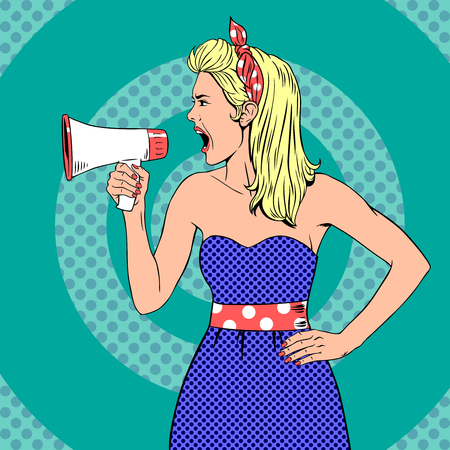 Girl with megaphone  or loudspeaker in pop-art style.  Communication announce, shouting announcement, speaker female young.