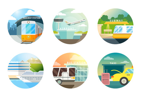 Transport stations flat icons set. Transportation and railway, airport and subway, metro and taxi