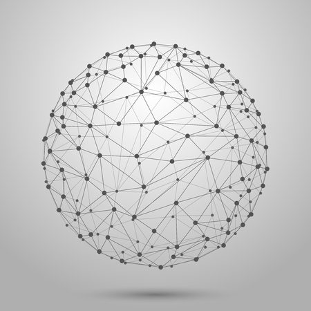 Wireframe 3D mesh polygonal vector sphere. Network line, design sphere, dot and structure illustration
