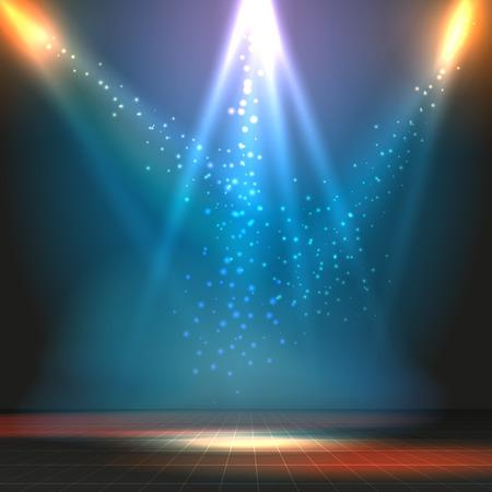 Ilustración de Show or dance floor vector background with spotlights. Party or concert, stage and floor illustration - Imagen libre de derechos