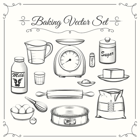 Baking food ingredients and kitchen tools in hand drawn vector style. Food cooking pastry, sieve and scales, flour and sugar illustration