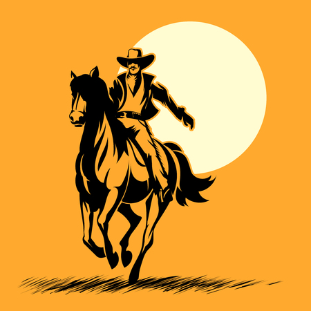 Illustration pour Wild west hero, cowboy silhouette riding horse at sunset. Mustang and person outdoor, horse vector illustration - image libre de droit