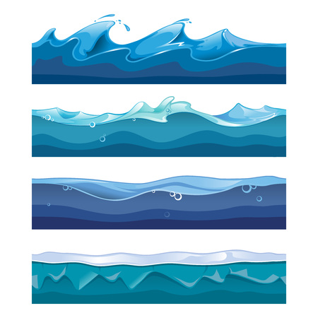 Illustration pour Seamless ocean, sea, water waves vector backgrounds set for ui game in cartoon design style. Nature interface graphic curve storm flow illustration - image libre de droit