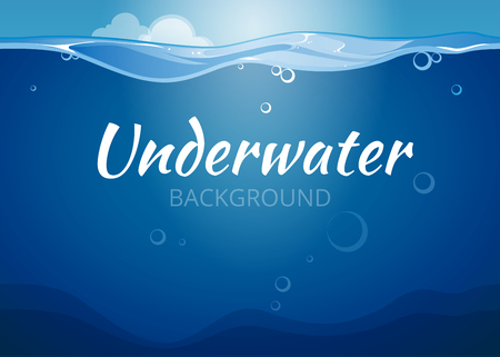 Illustration pour Underwater vector background in comic book style. Sea water,  nature ocean wave illustration - image libre de droit