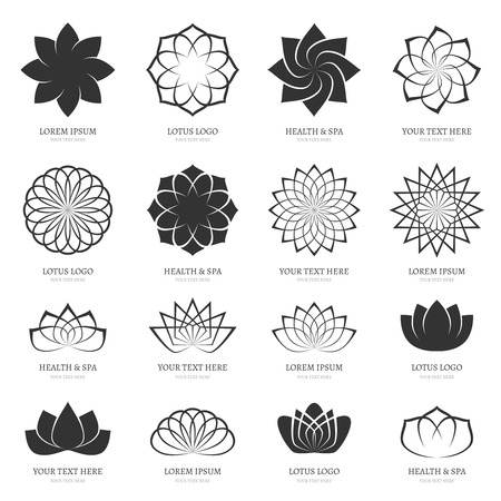 Abstract vector lotus flowers for spa, yoga class, hotel icons. Blossom petal, harmony design, icon sign floral beauty illustration