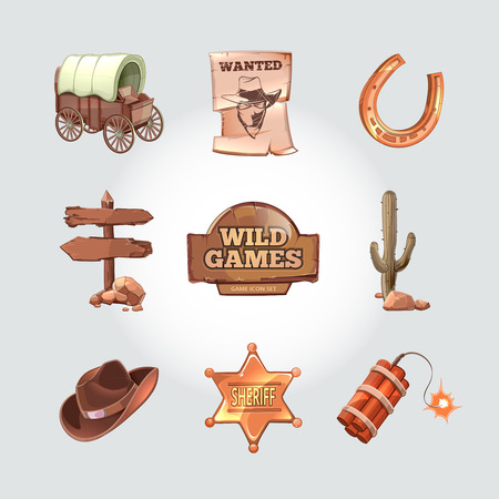 Icons for Wild West computer game. Cowboy objects cartoon design style. Western american art, police and dynamite, cactus and horseshoe. Vector illustration