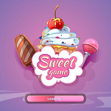 Candy world game background with title name. Sweet design art, fantastic lollipop, vector illustration