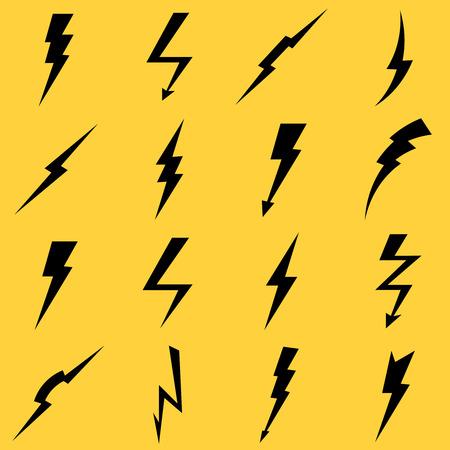 Lightning black vector icons set. Flash and arrow, electricity thunder, danger light power illustration
