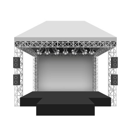 Illustration pour Podium concert stage. Performance show entertainment, scene and event. Vector illustration - image libre de droit