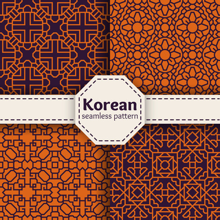 Korean or Chinese tradition vector seamless patterns set. Asian ornament design art illustration collection