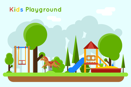 Kids playground flat concept background. Slide outdoor, sand and childhood, vector illustration