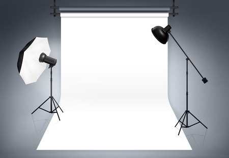 Photo studio background. Equipment for photography, flash and spotlight, vector illustration