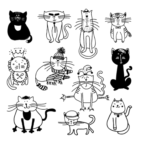 Cute cats sketch illustration. Pet animal kitten, sketch cartoon feline, domestic mammal setのイラスト素材