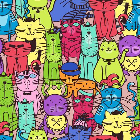 Seamless doodle cat pattern. Animal pet kitten, art fabric, illustration