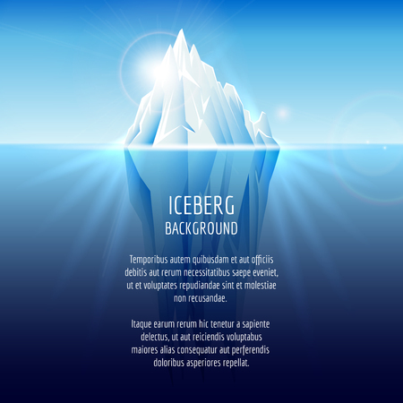 Realistic iceberg on water. Antarctic landscape, nature ocean, snow and ice, illustration