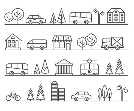 Line city illustration. urban landscape. Architecture town, cityscape street illustration