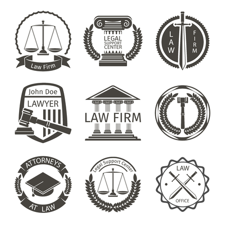 Lawyer and law office , emblem labels  set. Attorney and scale, badge balance, protection and lawyer, illustration