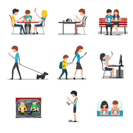 People different action use smartphone. Mobile device, social media and internet addiction. Networking and searching, playing and typing, chatting illustration