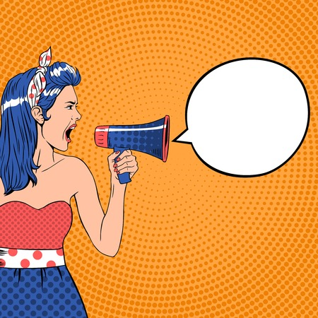 Ilustración de Pop art girl with megaphone and speech bubble. Loud and communication, announce shouting, retro announcement speaker, message voice, vector ilustration - Imagen libre de derechos