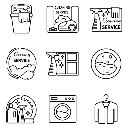 Cleaning service line icons. Vacuum and cleaner, washer and broom, housekeeping vector illustration