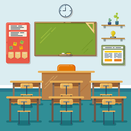 Illustration pour School classroom with chalkboard and desks. Class for education, board, table and study, blackboard and lesson. Vector flat illustration - image libre de droit
