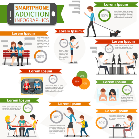 Smartphone, social media and internet addiction infographic. Online people, technology communication, vector illustration