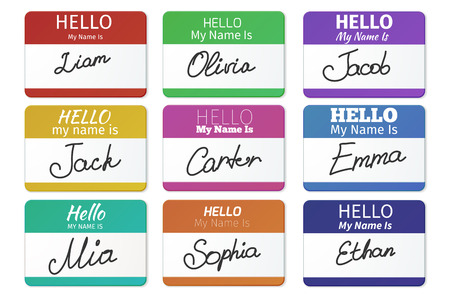 Ilustración de Name tag set. Hello my name is. card, Label sticker, introduce badge welcome with writing inscription, vector illustration - Imagen libre de derechos