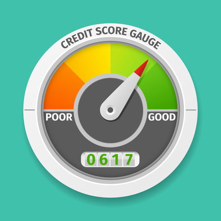 Illustrazione per Credit score gauge good and bad rating, information financial rate, vector illustration - Immagini Royalty Free