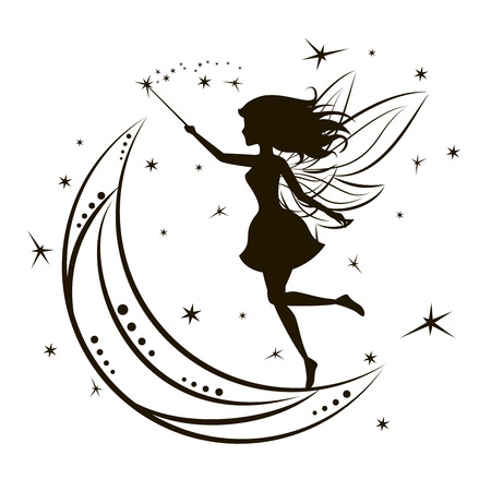 Silhouette of fairy with moon and stars. Girl magic beauty fantasy, vector illustration