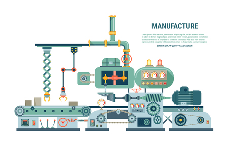 Illustration pour Industrial abstract machine in flat style. Factory construction equipment, engineering vector illustration - image libre de droit