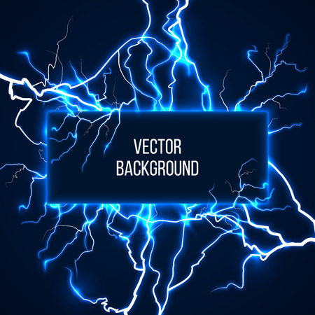 Vector banner with lightnings and discharge current. Electricit, voltage storm, weather nature illustration