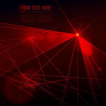 Vector red laser light on dark background. Illustration beam energy ray
