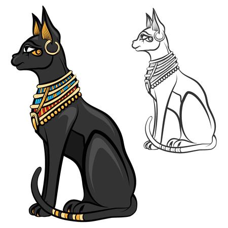 Egypt cat goddess bastet. Egyptian god, ancient figurine sitting, black statue feline, souvenir statuette, vector illustration