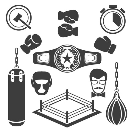 Boxing icons vector set. Glove equipment, training and ring illustration