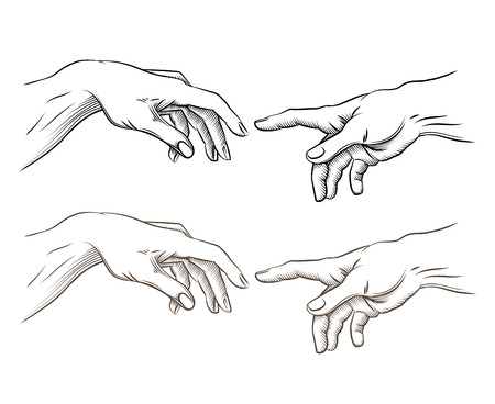 Adam hand and hand of God like creation. Hope and help, assistance and support religion, vector illustration