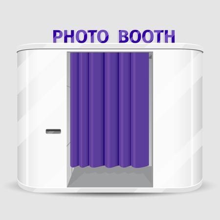 Illustration pour White photo booth vending machine. Photography machine service, cabin quick shoot. Vector illustration - image libre de droit