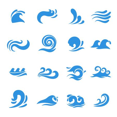 Wave icons. Water sea element, ocean liquid curve, flowing swirl storm, vector illustration