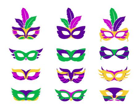 Illustration pour Mardi gras mask, vector mardi gras masks isolated on white - image libre de droit