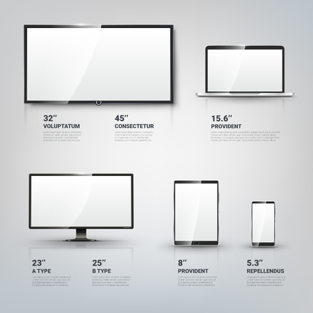 Illustration pour TV screen, Lcd monitor and notebook, tablet computer, mobile phone templates. Electronic devices infographic. Technology digital device, size diagonal display. Vector illustration - image libre de droit
